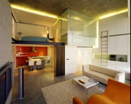 amazing-loft-design-ideas-glass-sliding-door-cubicle-shower-white-leather-couch-orange-sofabed-brown-shag-rug-area-white-swivel-white-modern-kitchen-set-wal-mounted-tv-stand-loft-design-ideas-interio-728x577